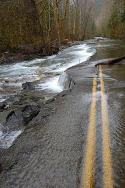 releasings:  Road washed out by flood, WA state.