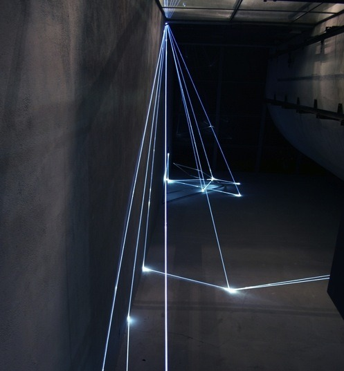 31chainz:  Carlo Bernardini. The Corner's Revenge, 2011, Optic fibers, stainless steel