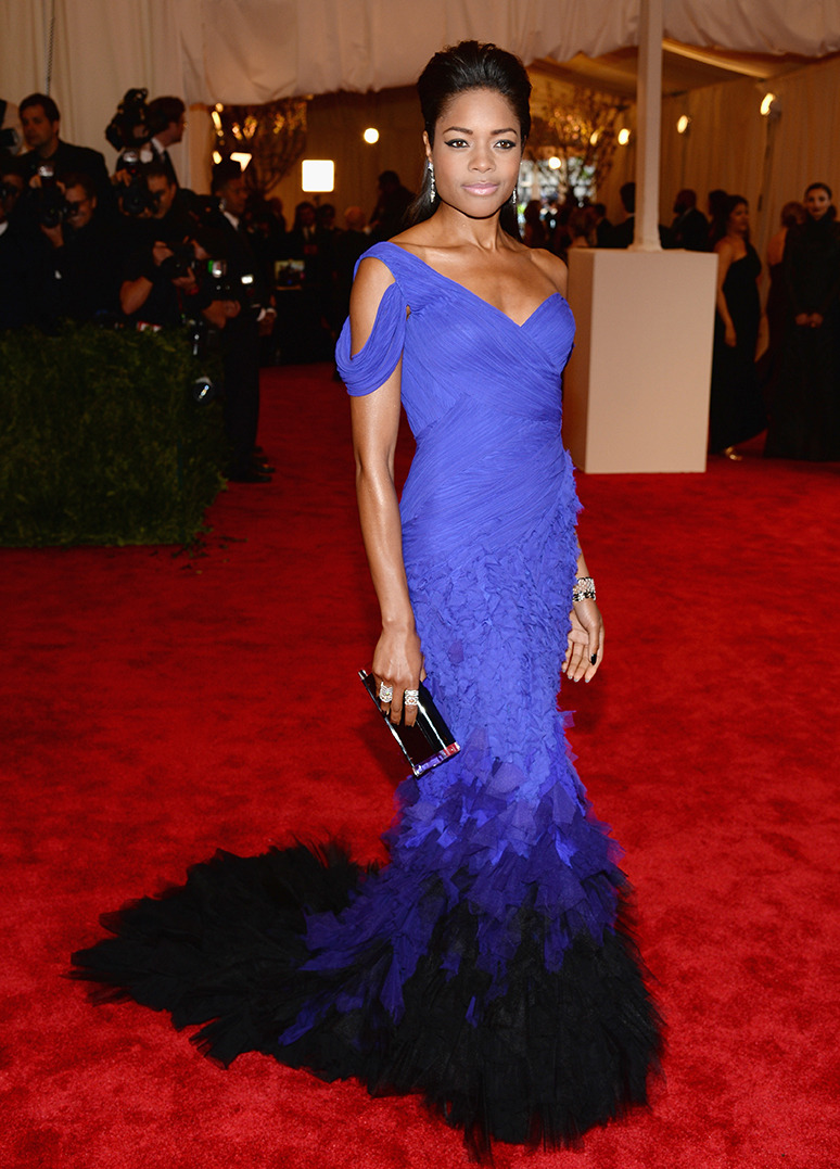 "NAOMIE HARRIS Actress Naomie Harris wears Donna Karan Atelier to the Costume Institute Gala for the ""PUNK: Chaos to Couture"" exhibition on May 6, 2013 at the Metropolitan Museum of Art in New York City. Credit: Dimitrios Kambouris/Getty Images"