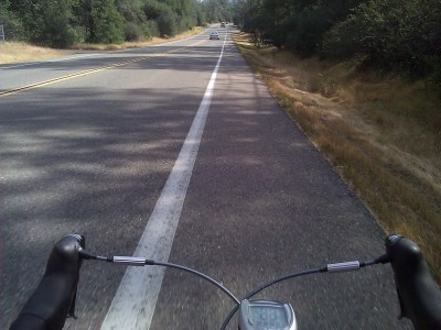 On the road at home. That was a decent 22 mile ride around town; maxed out at about 45 mph going down a huge hill.