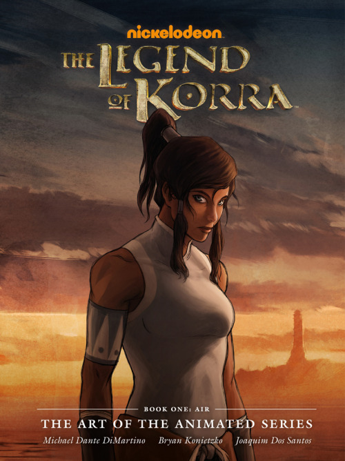 "bryankonietzko:  I'm excited to share with you the final cover art (Korra drawn by Joaquim Dos Santos and painted by me, with a background painting by Fred Stewart) for the upcoming Korra Book One: Air art book, published by our good friends at Dark Horse Books. This was a real labor of love (heavy on the labor) for Mike, Joaquim, and me and all those who helped as we put this book together, and we are so proud of all the great artists' work inside and can't wait to share it with all of you. The plan is to do one of these art books per ""book"" of Korra (so four total), which is daunting yet fantastic. Direct market on sale date: July 24, 2013. Book market on sale date: August 6, 2013. 9"" x 12"" hardcover, 144 pages  Something for my to-buy list… though I have to admit I'm not as big a fan of this cover as I hoped I would be."