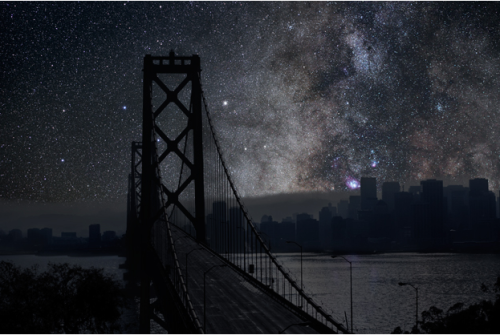 "povdocs:  San Francisco, from Thierry Cohen's ""Darkened Cities"" series. Can you imagine a city night without the light? Watch THE CITY DARK, filmmaker Ian Cheney's exploration of what we lose in a city's ever-brightened night sky. Now streaming on POV 'til Jan. 12."