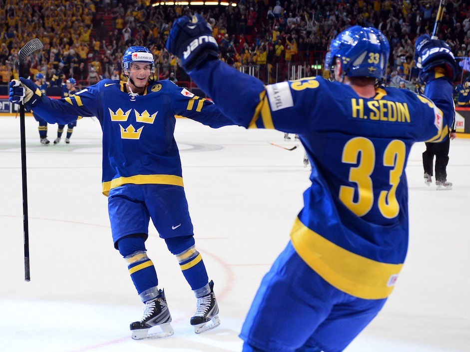 "Sweden has the opportunity to win an IIHF World Championship as the host country for the first time since the Soviet Union did it in 1986. Sweden blanked Finland 3-0 in Saturday's semi-final at Stockholm's Globe Arena to advance to Sunday's championship game.  The Soviet Union won a men's world hockey title 27 years ago in Moscow.  ""It's about time. It's about time,"" Swedish forward Henrik Sedin said. ""No pressure, just fun."" (Photo by Andrej Isakovic/AFP/Getty Image)"