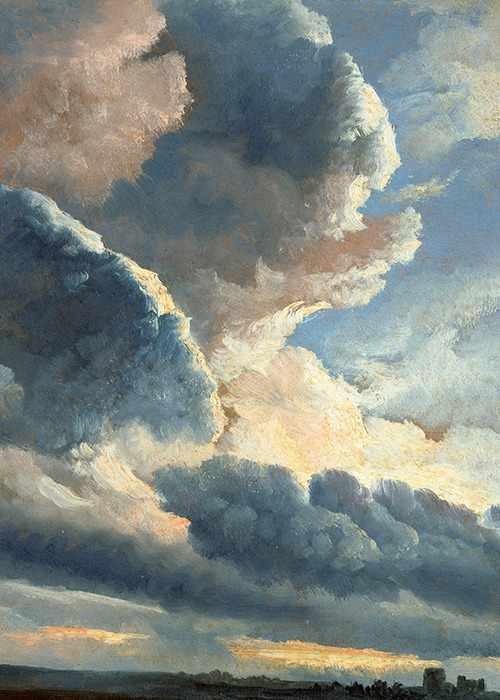 Simon Alexandre-Clément Denis, Study of Clouds with a Sunset near Rome (detail), ca. 1786-1801 (x)