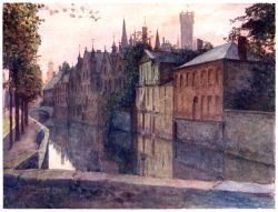 oldbookillustrations:  Bruges, view of the Palais du Franc. Amédée Forestier, from Belgium, by George W. T. Omond, London, 1908. (Source: archive.org)