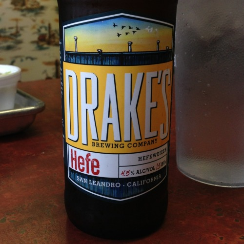Drakes Brewing Co. | Hefe Did you know Drakes made a hefe? We didn't either until we sat for into San Jose's Smoking Pig BBQ, a BBQ joint with an extensive craft beer menu. Honey, Orange and Citrus notes. Kept the pepper sauce at bay. Tasty.