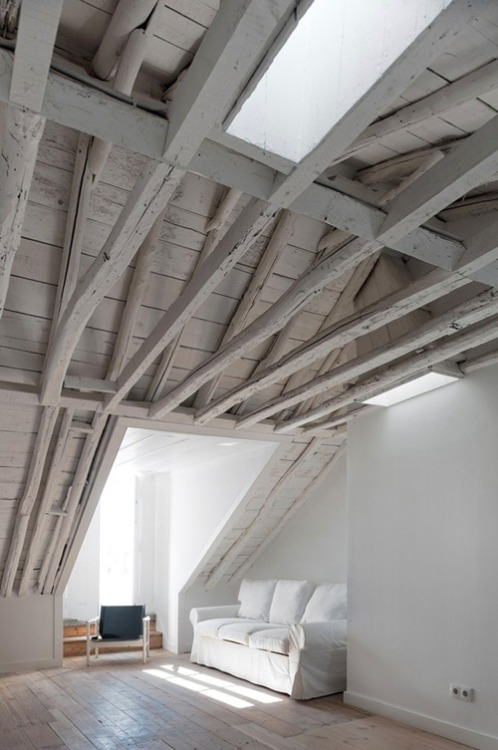 painted white woodbeams (via Pinterest)