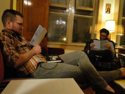 Sam Sharpe & Ben Bertin reading a draft of my Free Comic Book Day comic for Handout Comics #3!  We had a critique session last week. Sam's comic is on the large bristol board in the foreground. Carter Lodwick is also participating, but could not come to the meeting.