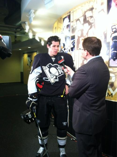 From PensPRLady, Geno gets interviewed during the 1st Intermission