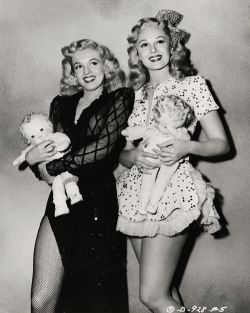 vintagegal:  Marilyn Monroe & Adele Jergens in a publicity photo for Ladies of the Chorus (1948)