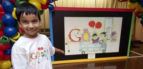 "Granite Quarry second-grader Aryaman Jana describes the picture that he created that was picked by Google to compete in a national art contest. Aryaman's picture will compete against 49 other images from others states for the grand prize of a $30,000 scholarship and a $50,000 for his school. The image is called ""The day my little sister was born."" Vote for his doodle here: http://www.google.com/doodle4google/vote.html"