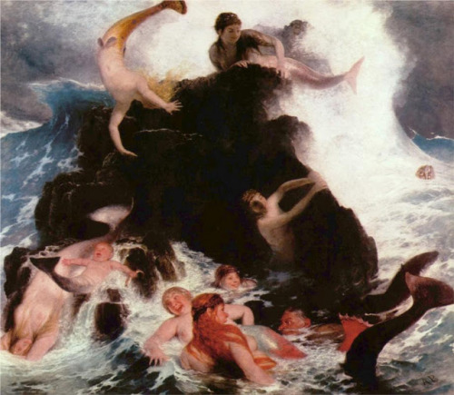 sullenmoons:  Mermaids at Play - Arnold Bocklin, 1886