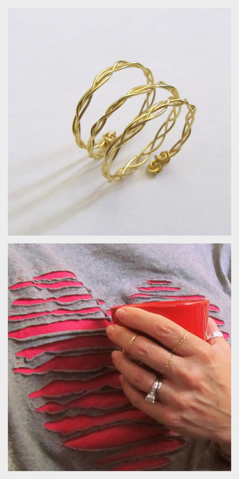 truebluemeandyou:  DIY Wire Braided Rings Tutorials from Wobisobi here. Love the shirt on the bottom photo? I posted Anne's shredded heart tee here. For lots more easy wire jewelry go here: truebluemeandyou.tumblr.com/tagged/wire and for more of Anne's easy jewelry and tee restyles go here: truebluemeandyou.tumblr.com/tagged/wobisobi