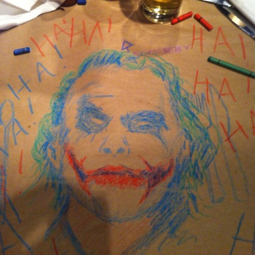 just a quick jack astor's crayon sketch. #joker #batman #darkknight #heathledger #hahaha #jackastors #crayola