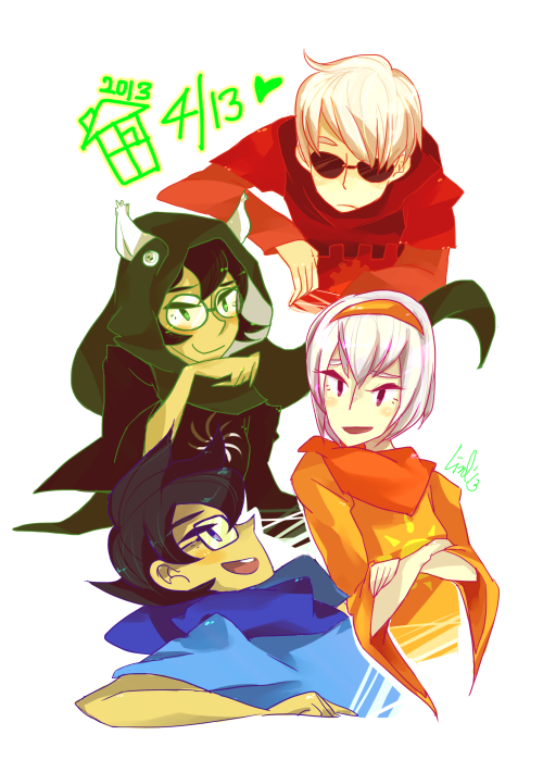 oops haven't drawn homestuck for a very long time …sorry about that. I made it on time! Happy 4/13!