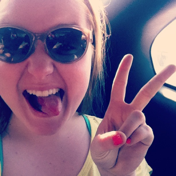 Summa #peace #lol #selfie #sunglasses #coral #nails #tongue #silly #selfieparty #chillin #cruisin #lmao #grade8