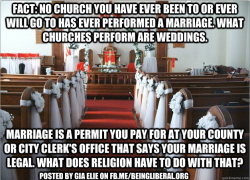 liberalsarecool:  The State dictates, not churches or the sanctimonious.