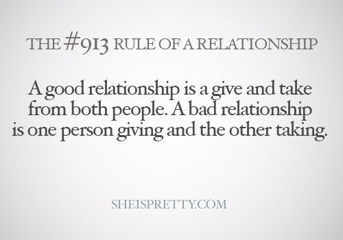 A good relationship is a balanced relationship.