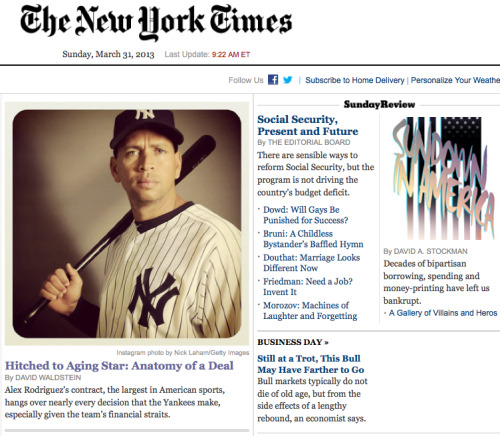 joshsternberg:  An Instagram image of a surly A-Rod graces the NYT homepage right now.  I look at this image and all I see are pictures of people jumping over sharks.