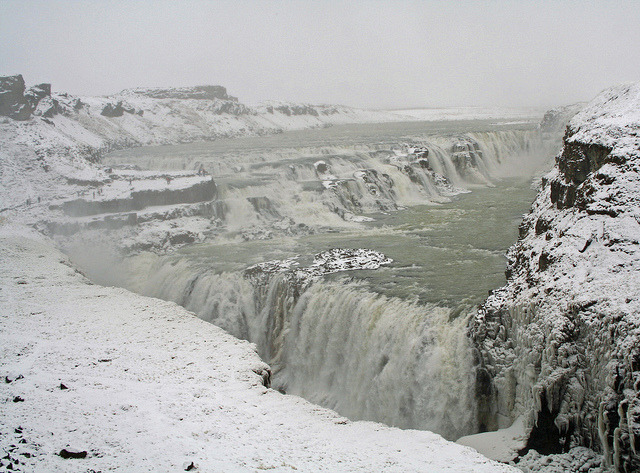 auguris:  Snowing at Gullfoss by April.Moulton on Flickr.