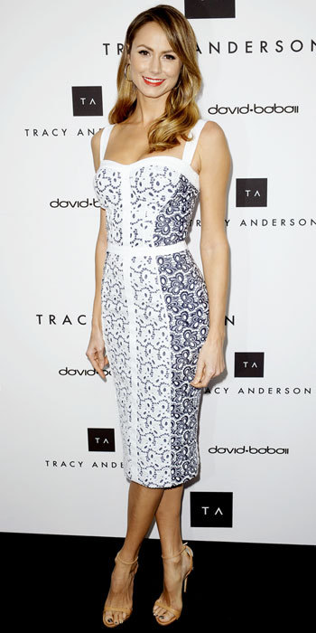tallgirltales:  Party Dress du Jour: Stacy Keibler in a Rebecca Minkoff dress (S/S 2013) at the opening of the Tracy Anderson Flagship Studio in Brentwood, CA. She finished the look with Giuseppe Zanotti sandals.