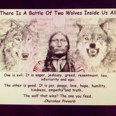 there's a battle of two wolves inside us all…