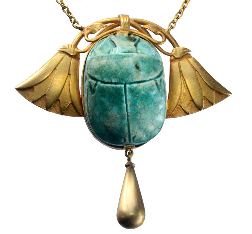 c1900 French Art Nouveau Faience Scarab Necklace, 18K Gold(in the online shop later today)