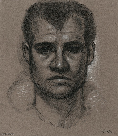 A sleepy self portrait.  1 hour 20 minutes, conté on toned paper.