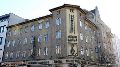 "From another era: music store Bading - Aus einer anderen Ära: Musik Bading - Rixdorf on Flickr.Photo from the shoot of ""Bohemian Rixdorf (Böhmisch-Rixdorf) – In A Berlin Minute (Week 152),"" which you can watch here: movingpostcard.com/rixdorf-berlin/"