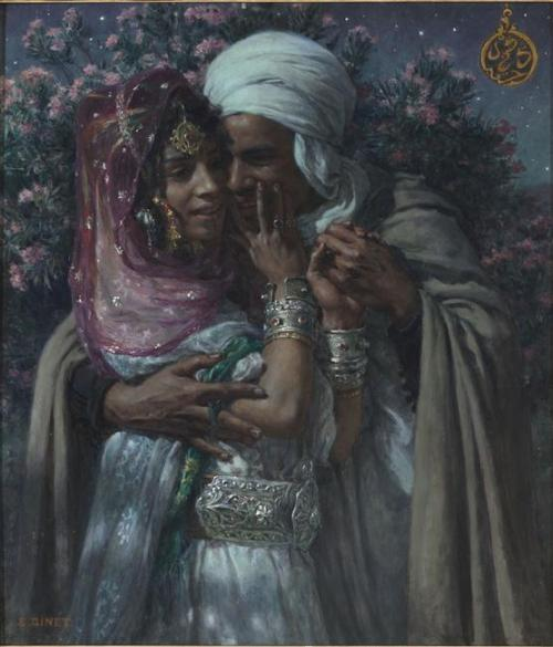 "frenchhistory:    Esclave d'amour et Lumière des yeux : Abd-el-Gheram et Nouriel-Aïn (légende arabe)   Auteur : Dinet Etienne (1861-1929)  @credits  Nasreddine Dinet (born as Alphonse-Étienne Dinet on March 28, 1861 – December 24, 1929, Paris) was a French orientalist painter.  Dinet's understanding of Arab culture and language set him apart from other orientalist artists.  Before 1900, most of his works could be characterized as ""anecdotal genre scenes"". As he became more interested in Islam, he began to paint religious subjects more often. He was active in translating Arabic literature into French, publishing a translation of a 13th-century Arab epic poem by Antarah ibn Shaddad in 1898"