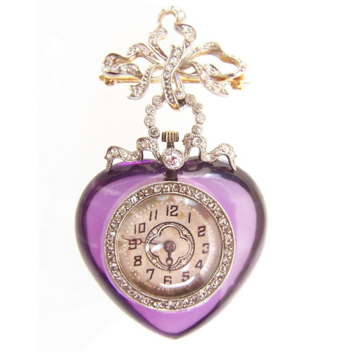 Amethyst and diamond pendant watch, 1905