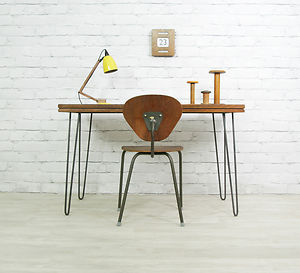 (via IROKO HAIRPIN LEGS VINTAGE INDUSTRIAL MID CENTURY DESK TABLE EAMES ERA 1950s 60s | eBay)