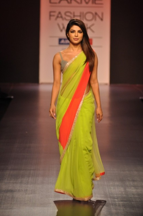 beautifulindianbrides:  Priyanka Chopra in a Manish Malhotra Saree LFW 2013