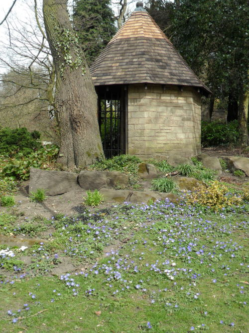 Restored Summer House surrounded with blue flowers, Walsall Arboretum, Walsall, England All Original Photography by http://vwcampervan-aldridge.tumblr.com