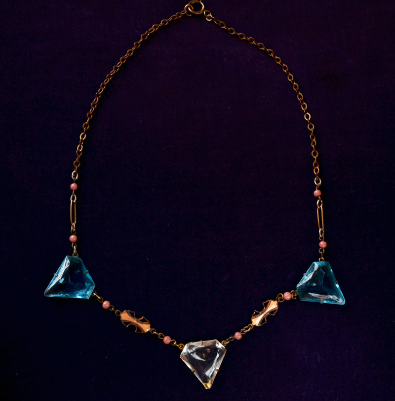 "1920s Art Deco Glass & Enamel Necklace, Brass, 16"", $165"