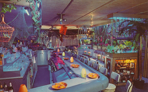 cardboardamerica:  Gene Kamp's Island Home - Chicago, Illinois 7068 W. Belmont Ave. Chicago, Illinois 60634 Unique in providing a relaxing Polynesian atmosphere, where you can listen to the sound of a waterfall and Hawaiian music, gaze at tropical birds and fish, and leisurely enjoy the finest in cocktails, expertly made to you individual taste.