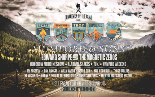 Mumford & Sons Gentlemen of the Road Stopover Poster and Wallpaper To learn more about these Stopovers, visit the Gentlemen of the Road website. Image © Kristoffer Douglas. Click here for high-resolution.
