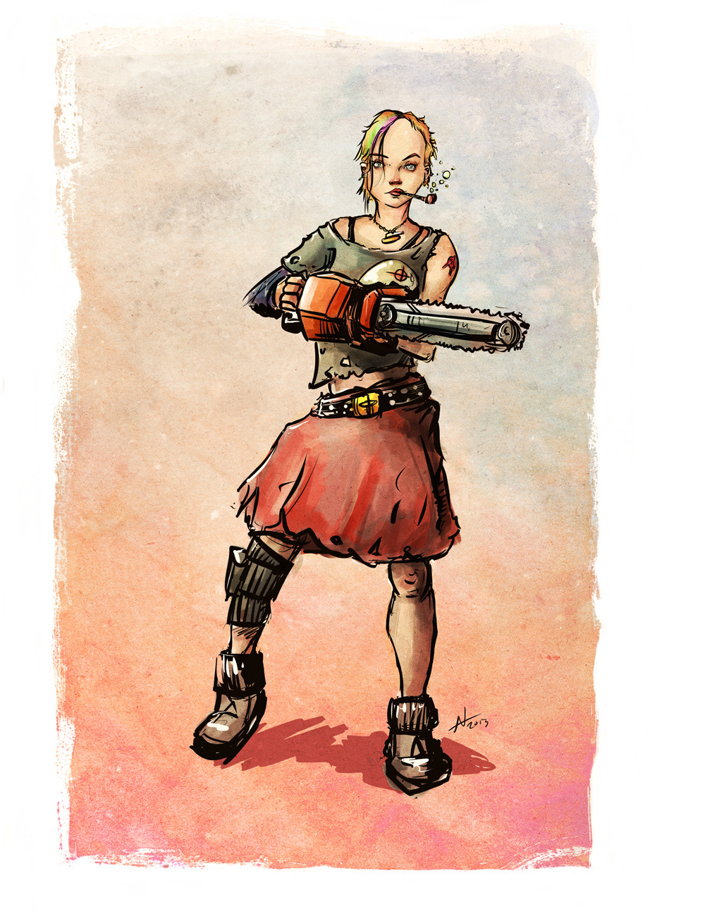 Tank Girl with chainsaw.