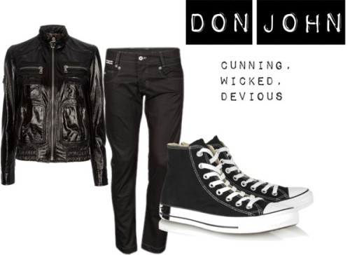 Don John/John the bastard by moburder featuring converse shoesDolce & Gabbana sheepskin jacket, $1,560 / Slim fit jeans, $47 / Converse  shoes
