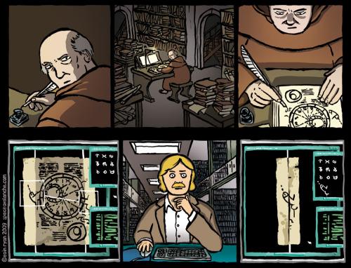 Manuscritos con mensajes ocultos… Space Avalanche, un web comic de Eoin Ryan, http://www.spaceavalanche.com/