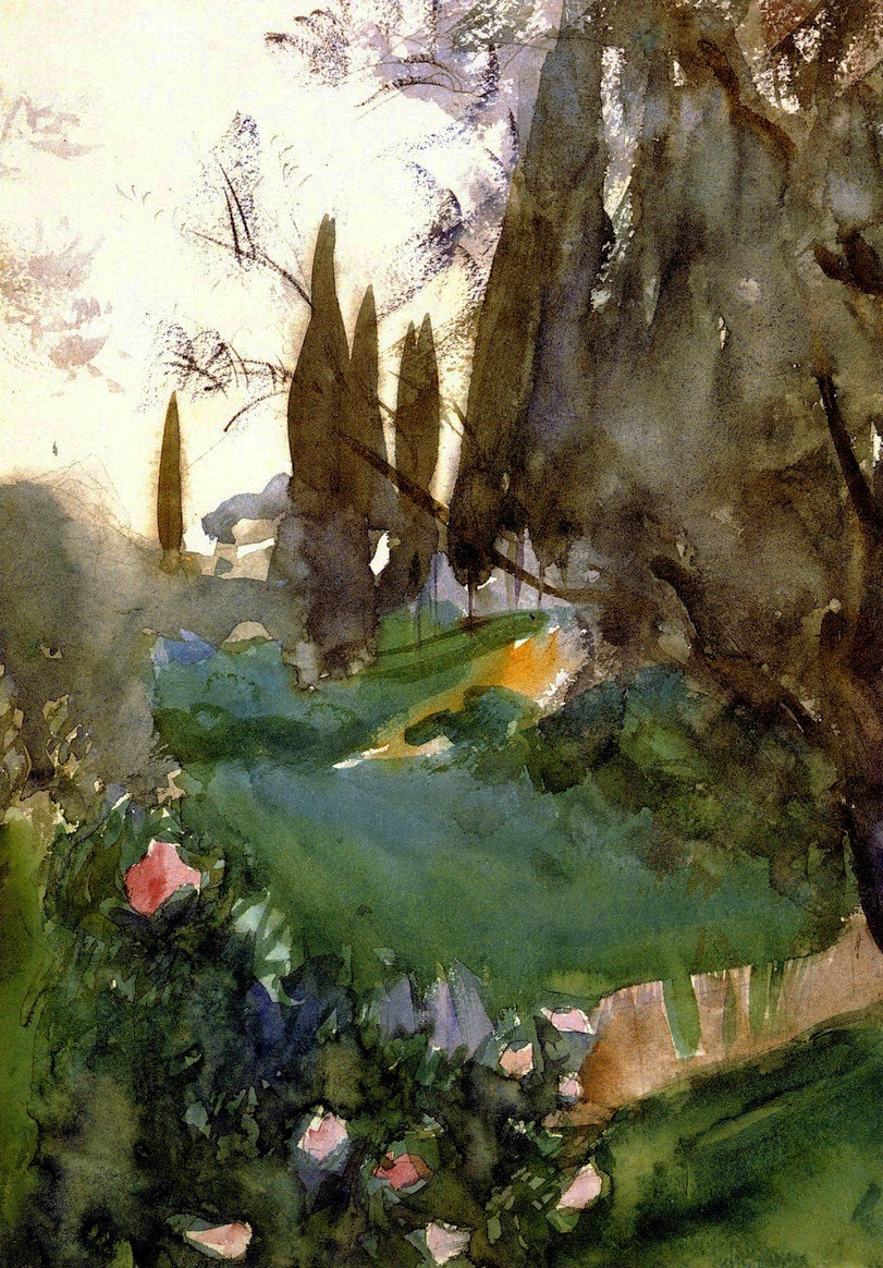 John Singer Sargent, Landscape with Cypresses, ca.1883, Graphite and watercolour on paper