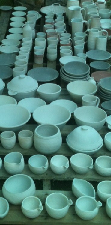 Greenware to be fired in the anagama kiln.