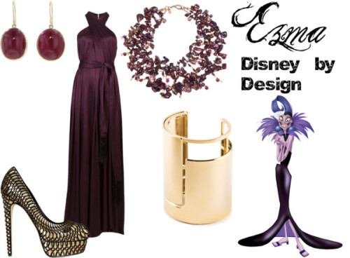 "Ezma from ""The Emperor's New Groove"" L'Agence halter dress, $505 / Brian Atwood high heel / Jamie Joseph ruby jewelry / Lanvin cuff bracelet / Pearl necklace"