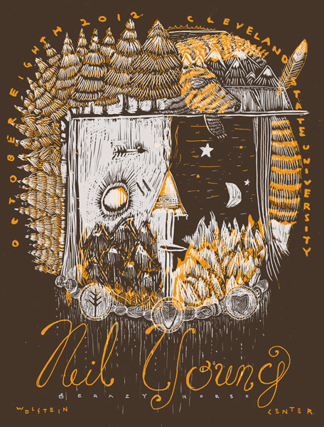 printforgood:  Neil Young & Crazy Horse by The Bubble Process 2 Color - 19 X 25 inches