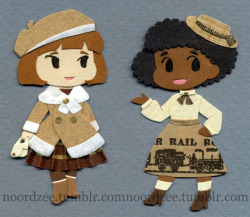 More paper lolitas! The one on the left is dressed for a winter stroll. The one on the right is kind of… more mature country lolita? Becoming vaguely steampunk because of the trains? At this point it should become apparent that A) I have no idea what I'm doing, B) am just tossing together stuff I think looks good, and C) I really like tan-and-brown outfit color schemes. Winterloli is wearing part of a ferrero roche candy wrapper as a skirt. Country?loli has trains on her skirt because trains are AWESOME, if there isn't one already there needs to be a train-themed lolita line. It comes from a paper bag I have that's printed with old newspaper ads. Original sketches*Himeloli and Classic?loli