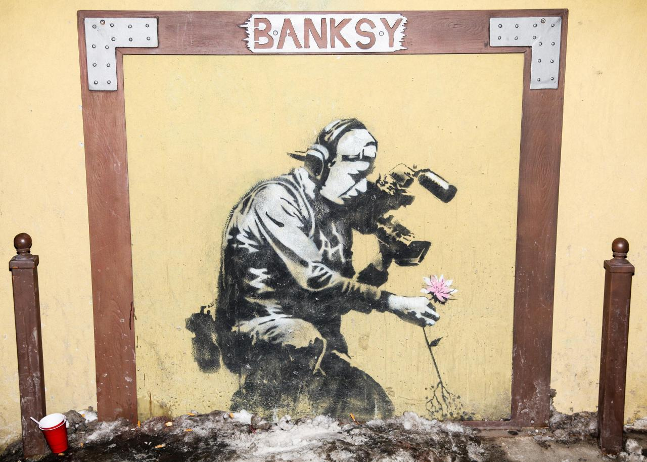 Banksy Has Officially Hit Sundance Photographed at the Star Bar, Park City, Utah.  (Photo: David X Prutting/BFAnyc.com)