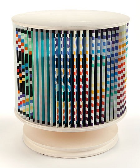 YAACOV AGAM (Israeli, b. 1928) Agamorama (Accelerated Rhythme) Polychromed wood and laminate with rotating mechanism.