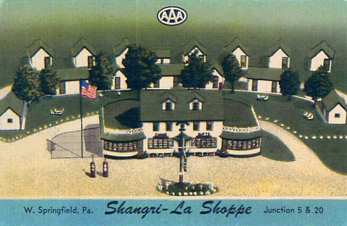 Vintage postcard of the Shangri-La Shoppe in West Springfield, PA