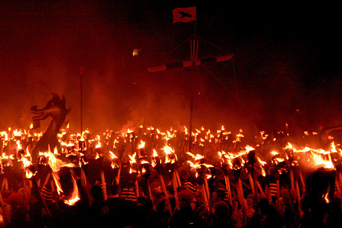 Mix Scots and Vikings and you get a seriously big, boozy fire… Up Helly Aa refers to the annual fire festivals held in Shetland and Scotland to mark the end of the yule season.  More on Lerwick Up Helly Aa by Somewhere in the world today… Picture: Up Helly Aa 2008 by Dave Cleghorn, on Flickr
