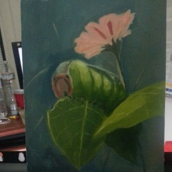 Work in progress for Tristan Elwell's painting class. #oilpainting #art #artist #artistic #sketch #doodle #painting #drawing #sva #traditional #sketchoftheday #caterpillar #flower #plants